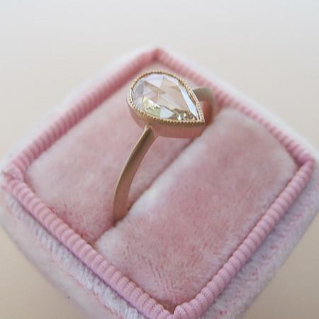 .53ct Pear Shaped Rose Cut Diamond Bezel Ring