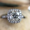 1.59ct Antique Cushion Cut Diamond Halo Ring GIA K VS2 10