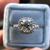 1.59ct Antique Cushion Cut Diamond Halo Ring GIA K VS2 6