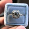 1.59ct Antique Cushion Cut Diamond Halo Ring GIA K VS2 18