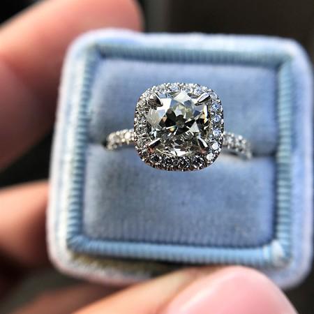 1.59ct Antique Cushion Cut Diamond Halo Ring GIA K VS2