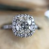 1.59ct Antique Cushion Cut Diamond Halo Ring GIA K VS2 4