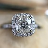 1.59ct Antique Cushion Cut Diamond Halo Ring GIA K VS2 21