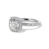1.59ct Antique Cushion Cut Diamond Halo Ring GIA K VS2 1