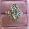 1.21ct Marquise Shape Diamond Halo Ring, GIA G SI1 11