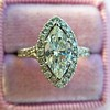 1.21ct Marquise Shape Diamond Halo Ring, GIA G SI1 2