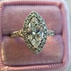 1.21ct Marquise Shape Diamond Halo Ring, GIA G SI1 12