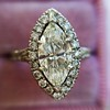 1.21ct Marquise Shape Diamond Halo Ring, GIA G SI1 0