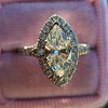 1.21ct Marquise Shape Diamond Halo Ring, GIA G SI1 22