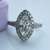 1.21ct Marquise Shape Diamond Halo Ring, GIA G SI1 1