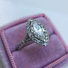 1.21ct Marquise Shape Diamond Halo Ring, GIA G SI1 13