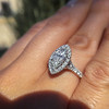 1.21ct Marquise Shape Diamond Halo Ring, GIA G SI1 10