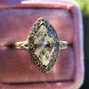 1.21ct Marquise Shape Diamond Halo Ring, GIA G SI1 5