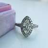 1.21ct Marquise Shape Diamond Halo Ring, GIA G SI1 16