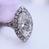 1.21ct Marquise Shape Diamond Halo Ring, GIA G SI1 3