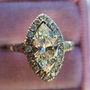 1.21ct Marquise Shape Diamond Halo Ring, GIA G SI1 7