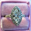 1.21ct Marquise Shape Diamond Halo Ring, GIA G SI1 24