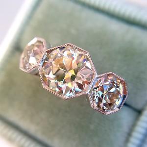 2.79ctw Old European Cut Diamond Octagonal 3-stone Ring