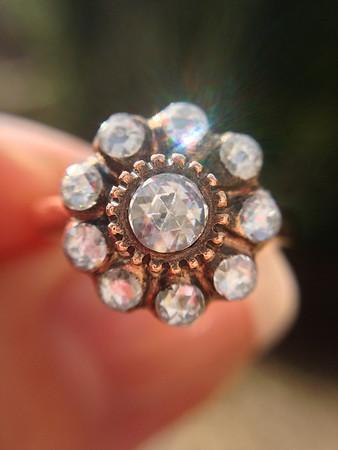 Rose Cut Diamond Floret Rose Gold Ring RCD