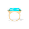 Turquoise Navette Diamond Halo Ring, 14kt Yellow Gold 2