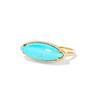 Turquoise Navette Diamond Halo Ring, 14kt Yellow Gold 1