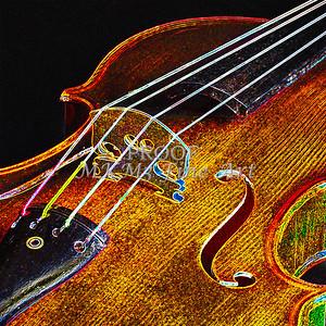 Bridge Wall Art Violin Dark Drawing 5016