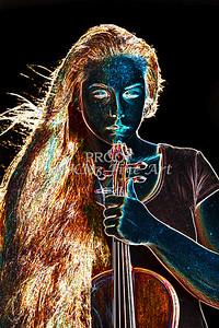 Moonlight Violin Dark Drawing 5020