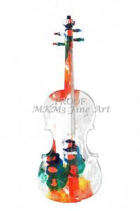 White Wall Art Violin Watercolor 6038
