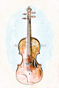 Wall Pictures Violin Watercolor 6024