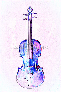 Wall Art Violin Watercolor 6002