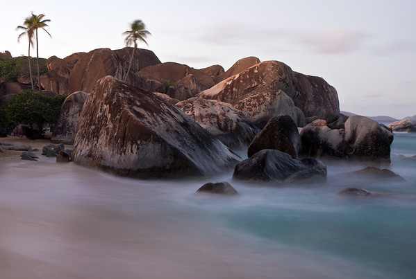 The first morning in Virgin Gorda, I woke up early to hike down the trail and check out the sunrise from the Baths. It was pretty cool to have such a jawdropping place all to myself...I returned later in the day to find a much different scene. Lots of cruise ship passengers, dinghy boats, etc. Definitely a place to head before 9am or after 3pm...But you gotta see this place in person..the boulders are gigantic and the hidden pools are aplenty.