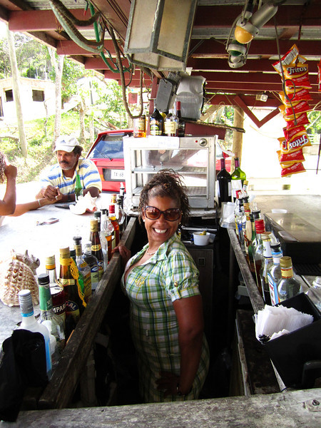 Our petite bartender in one of the smallest bar areas ever.
