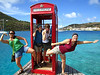 The iconic British phone booth, placed here amongst it's islands.....and then we filled it full of goofballs :) The result of a few rum punches! Collette, I don't think I realized how easily you could have taken a dunk!