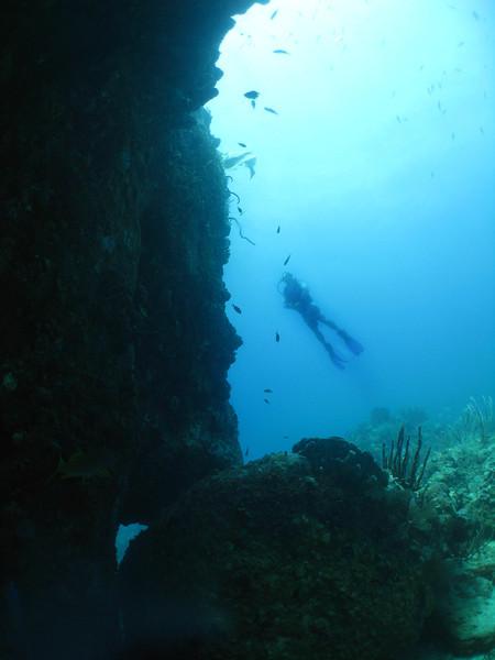 Matt's silhouette swimming near the sheer reef wall.