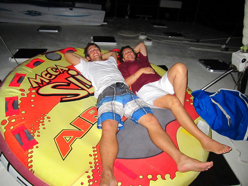 On board air mattresses:) Matt and Tara chillin'!