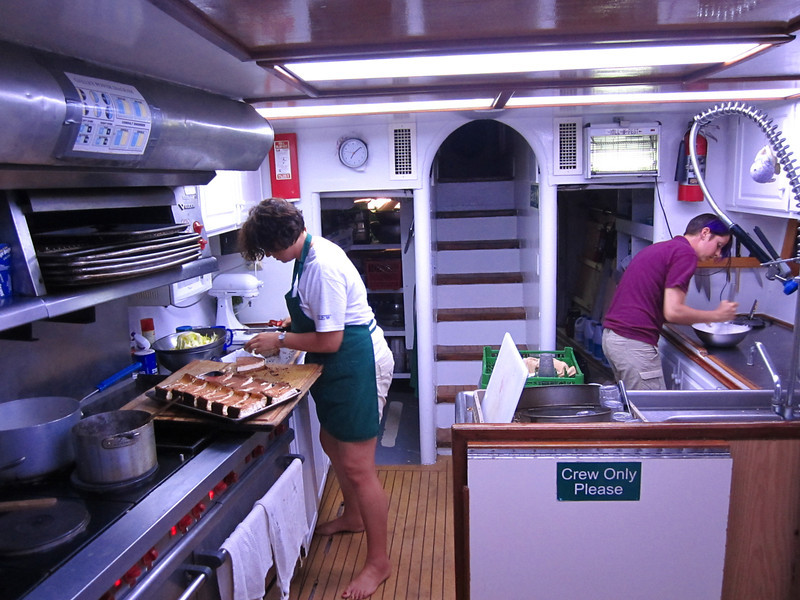 In the galley.