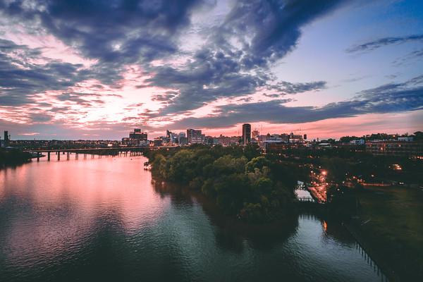 Sunset in Richmond, VA from Rocketts Landing