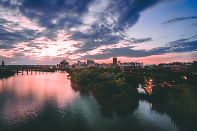 Sunset in Richmond, VA from Rocketts Landing
