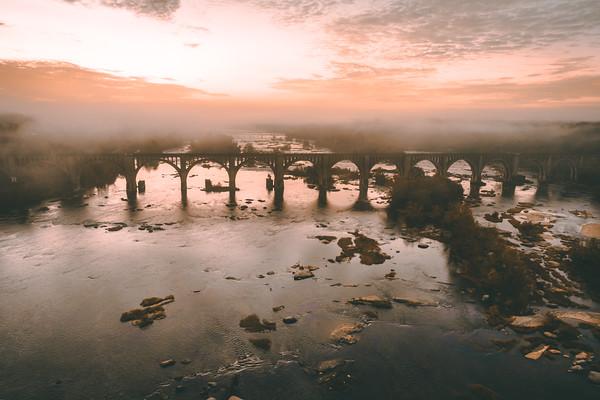 Foggy Sunrise at the A-Line Bridge in Richmond, VA