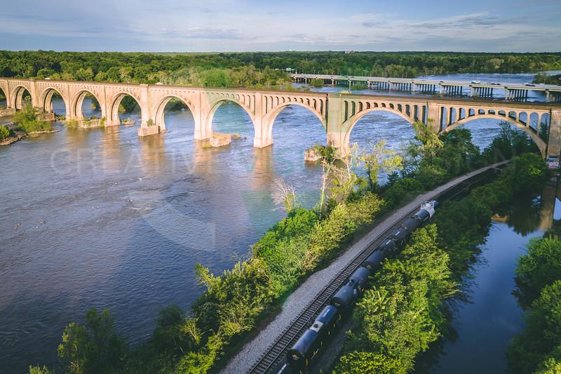 Train Crossing Under the A-Line Bridge in Richmond, VA