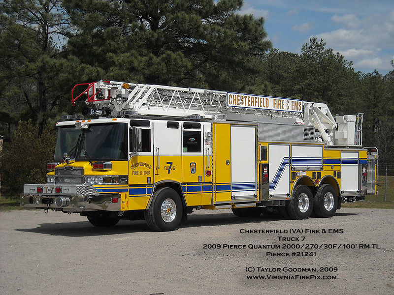 Chesterfield (VA) Fire & EMS<br /> Truck 7<br /> 2009 Pierce Quantum 2000/270/30F/100' rear mount aerial<br /> Pierce #21241<br /> Replaces a 1997 Pierce Quantum 105' RM, which will enter reserve status
