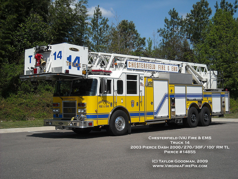 Chesterfield (VA) Fire & EMS<br /> Truck 14<br /> 2003 Pierce Dash 2000/270/30F/100' rear mount tower ladder<br /> Pierce #14855<br /> Rear wheel simulators removed after causing damage to rear tires.