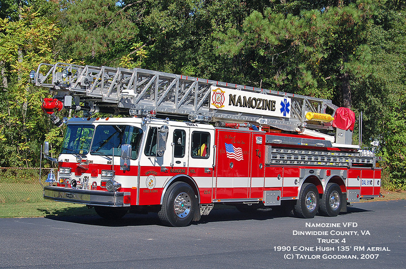Namozine Volunteer Fire Department<br /> Dinwiddie County, VA<br /> Truck 4<br /> 1990 E-One Hush 135' RM aerial<br /> ex-Schaumburg, IL