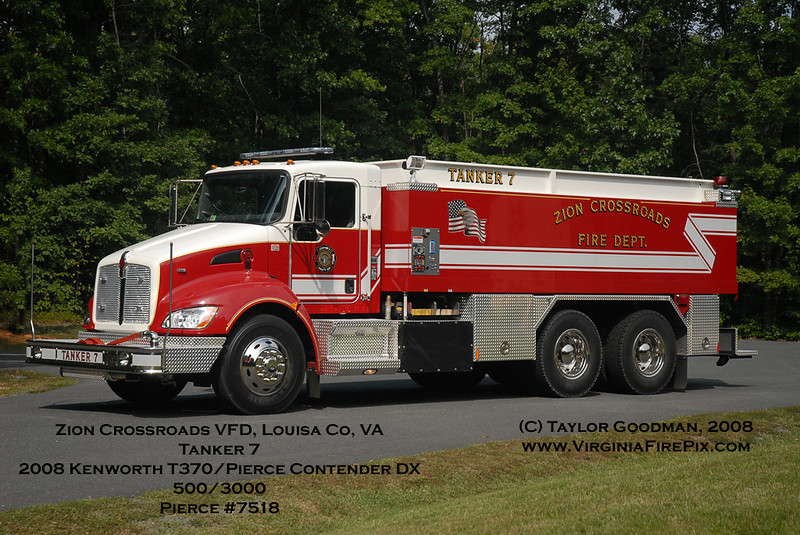 Zion Crossroads VFD, Louisa County, VA<br /> Tanker 7<br /> 2008 Kenworth T370/Pierce Contender DX<br /> 500GPM/3000GWT<br /> Pierce Contender #7518