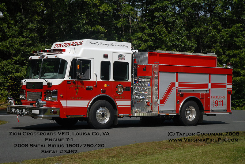 Zion Crossroads VFD, Louisa County, VA<br /> Engine 7-1<br /> 2008 Smeal Sirius 1500/750/20F<br /> Smeal #3467