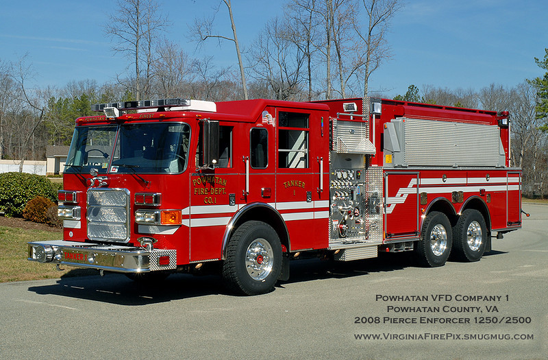 Powhatan VFD Company 1<br /> Powhatan County, VA<br /> Tanker 1 (delivered March 3, 2008)<br /> 2008 Pierce Enforcer 1250/2500