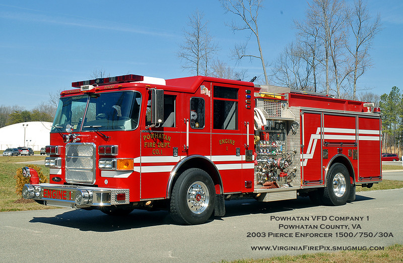 Powhatan VFD Company 1<br /> Powhatan County VA<br /> Engine 1<br /> 2003 Pierce Enforcer 1500/750/30A