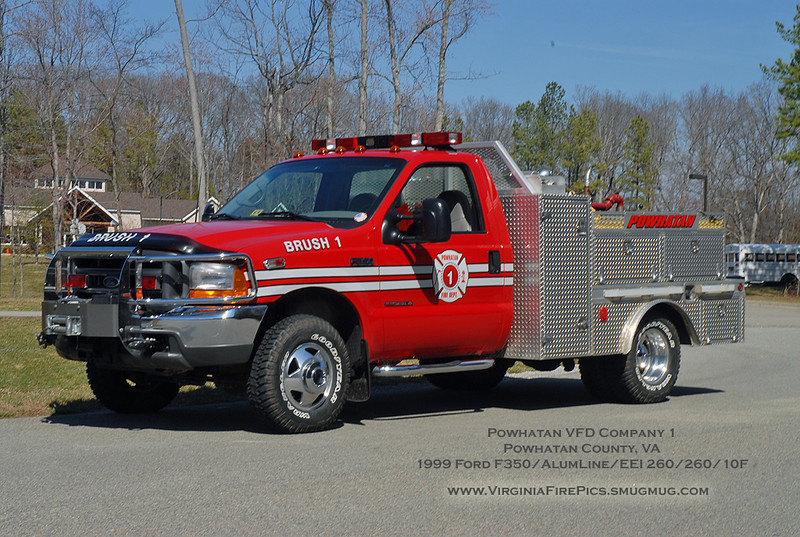 Powhatan VFD Company 1<br /> Powhatan County, VA<br /> Brush 1<br /> 1999 Ford F350/AlumLine/Emergency Equipment Installations 260/260/10F