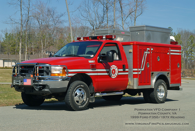 Powhatan VFD Company 1<br /> Powhatan County, vA<br /> EMS 1<br /> 1999 Ford F350/197x Reading (retired and sold March 2015 to Command Fire Apparatus in Lancaster, PA)<br /> (Body is ex Buckroe Beach VFD, City of Hampton, VA, purchased by Powhatan in 1997)