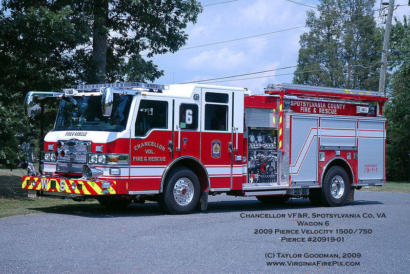 One of two Pierce Velocities purchased by the county.  The twin is assigned to Engine 5.